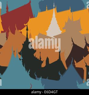 Colorful editable vector seamless tile of Buddhist temple buildings - Stock Photo