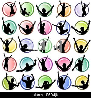 Set of editable vector buttons with people silhouettes - Stock Photo