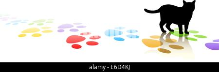Editable vector illustration of a cat silhouette and colorful paw prints with space for text - Stock Photo