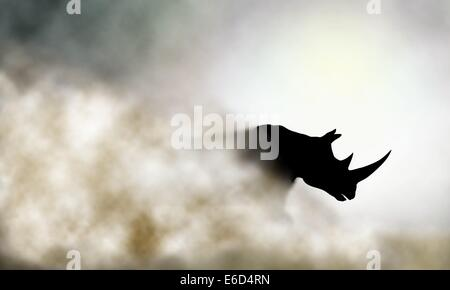 Editable vector illustration of a charging rhinoceros and dust cloud made using a gradient mesh - Stock Photo