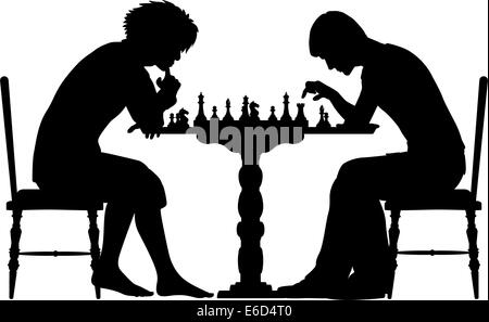 Editable Vector Silhouettes Of Two Men Playing Chess With All Elements As Separate Objects