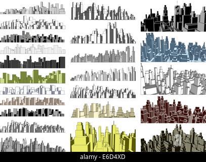 Set of editable vector simple 3-dimensional city skylines - Stock Photo