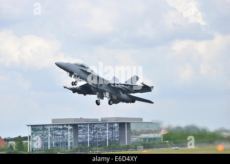 a A Eurofighter Typhoon takes off at Farnborough International Airshow. 2014 - Stock Photo