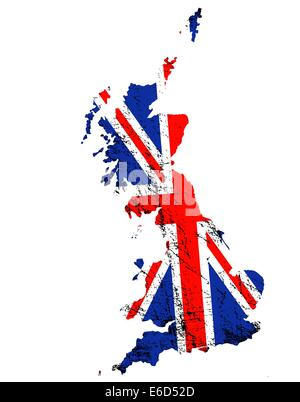 Outline of Great Britain with grunged Union Jack flag - Stock Photo