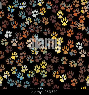 Editable vector seamless tile of colorful dog paw prints - Stock Photo