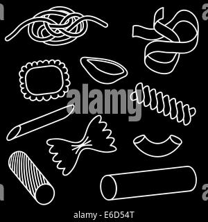 Set of editable vector icons of different pasta shapes - Stock Photo