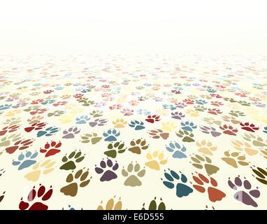 Editable vector illustration of dog paw prints - Stock Photo