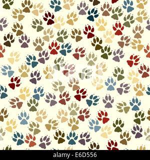 Editable vector seamless tile of dog paw prints - Stock Photo