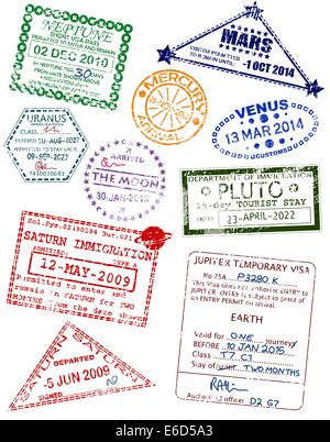 Set of editable vector visas from different planets - Stock Photo