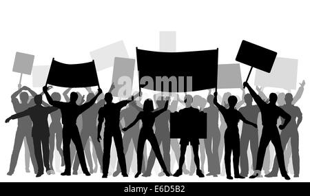 Editable vector silhouettes of protesters and banners with all elements as separate objects. Hi-res jpeg file included. - Stock Photo
