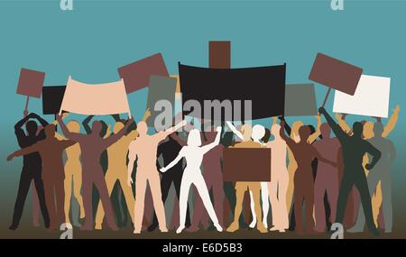 Editable vector silhouettes of protesters and banners - Stock Photo