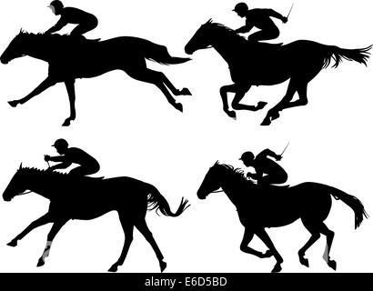Racing Horses And Jockeys Illustration 2