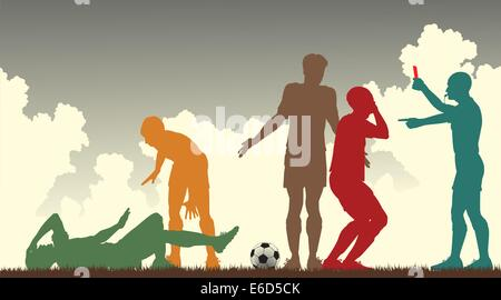 Editable vector colorful silhouettes of a referee sending off a footballer - Stock Photo