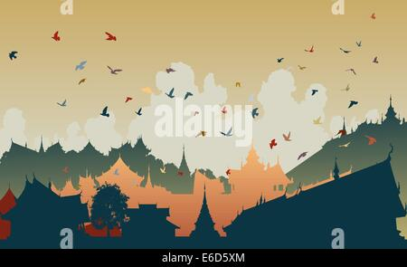 Colorful editable vector illustration of birds over a generic east asian city - Stock Photo