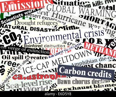 Editable vector illustration of newspaper headlines on an environmental theme - Stock Photo