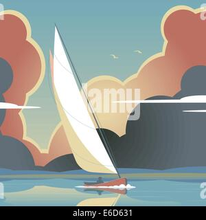Editable vector illustration of a man sailing a yacht on calm water - Stock Photo