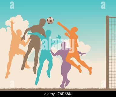 Colorful editable vector silhouette of a footballer heading the ball at goal - Stock Photo