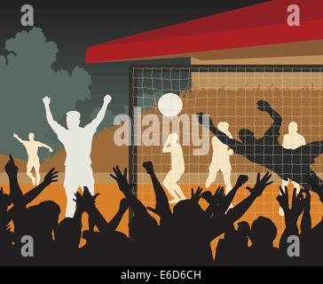 Editable vector illustration of a goal scored during a night football match - Stock Photo
