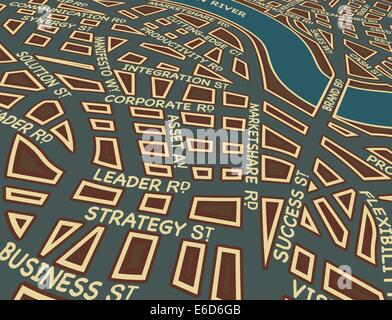 Editable vector map of a generic city with business street names - Stock Photo