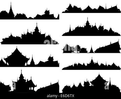 Set of editable vector silhouettes of Buddhist temple complexes - Stock Photo