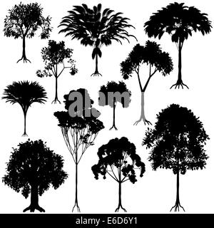 Set of editable vector generic tree silhouettes - Stock Photo