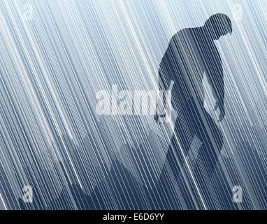 Editable vector illustration of a man walking in torrential rain - Stock Photo