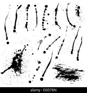 Set of editable vector ink splatters and spills - Stock Photo