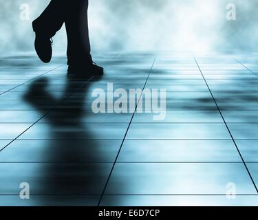 Editable vector illustration of a man walking across a tiled floor made using a gradient mesh - Stock Photo