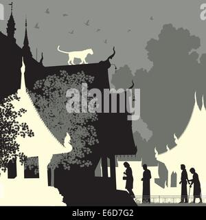 Editable vector silhouette of a leopard on a Buddhist temple roof with figures as separate objects - Stock Photo
