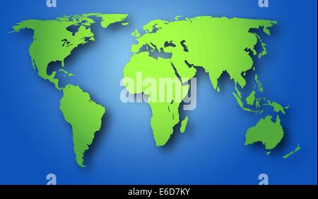 Editable vector illustration of a world map plus drop shadow, with background made using a gradient mesh - Stock Photo