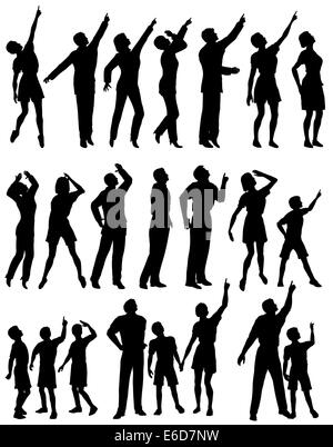 Set of editable vector silhouettes of people looking and pointing upwards - Stock Photo