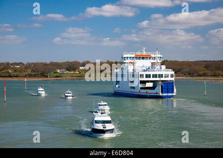 Departing Lymington Hampshire on a ferry to the Isle Of Wight England UK Europe - Stock Photo
