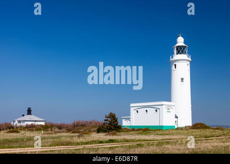 The 1867 Hurst Point Lighthouse near Milford-on-sea is located at Hurst Point in the county of Hampshire - Stock Photo