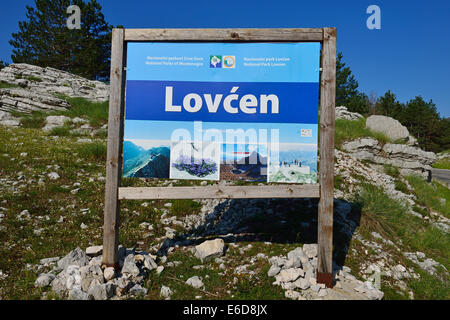Montenegro, Crna Gora, Entrance sign to Lovcen National Park - Stock Photo