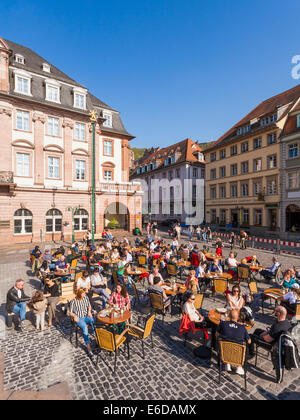 Germany, Baden-Wuerttemberg, Heidelberg, view to pavement cafe in the old city - Stock Photo