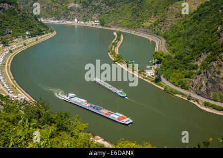 Germany, Rhineland-Palatinate, View to Middle Rhine river, Loreley harbour, Upper Middle Rhine Valley - Stock Photo