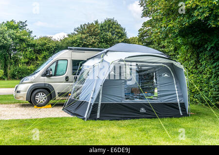 A van conversion motorhome and tent on a Caravan Club c&site in England UK. & Caravan motorhome and campervan on campsite with view to Sango Bay ...