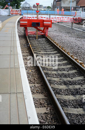train by buffers at selby railway station yorkshire united kingdom - Stock Photo