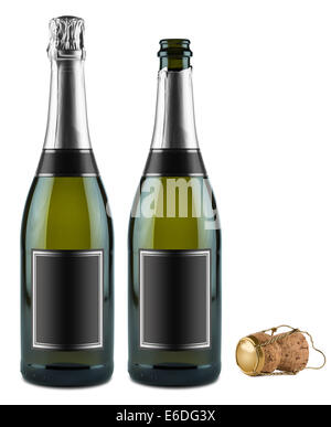 two bottles of champagne and cork - Stock Photo
