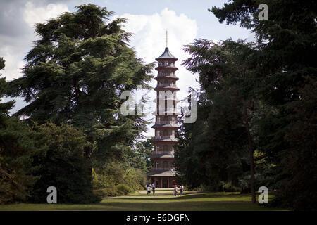 London, UK. 13th Aug, 2014. Kew Gardens - Plantasia summer festival.View of the Pagoda.The Kew Gardens Summer Festival - Stock Photo
