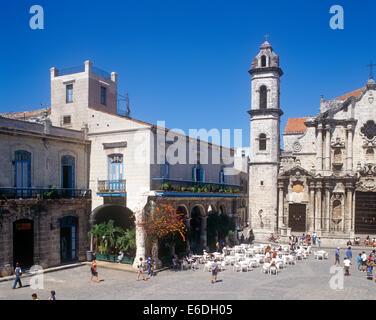 Plaza De La Cathderal Old Havana Cuba City Square - Stock Photo
