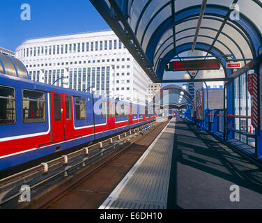 Heron Quay station Docklands light railway London UK - Stock Photo