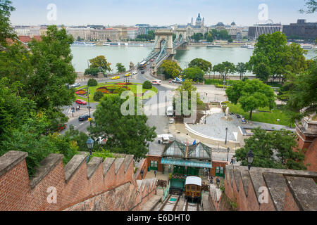 Budapest funicular, with the Széchenyi Chain Bridge in the background - Stock Photo