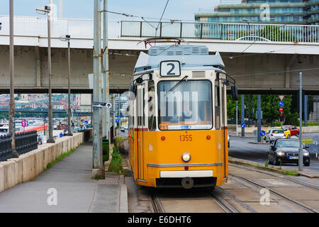 Budapest yellow tram as part of city public transport system - Stock Photo