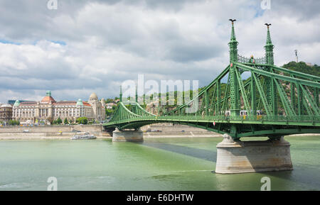 Liberty Bridge, in the background Gellert Hotel, Budapest, Hungary - Stock Photo