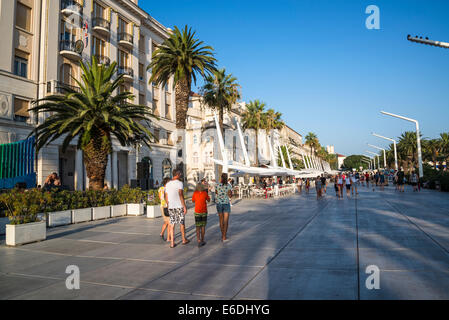 Riva, seaside promenade, Split, Croatia - Stock Photo