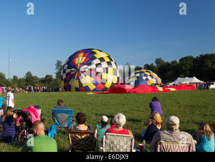 METAMORA, MICHIGAN – AUGUST 24 2013: Hot air balloons launch at the annual Metamora Country Days and Hot Air Balloon - Stock Photo