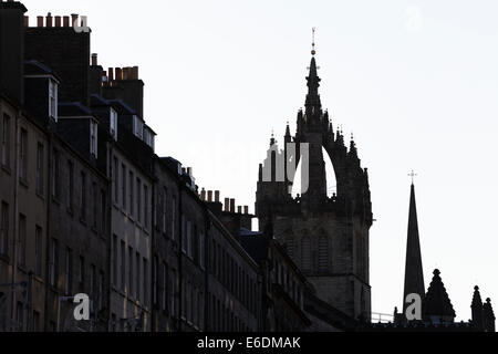 Silhouette of the Crown Spire of St Giles Cathedral with the spire of The Hub in the background, Edinburgh, Scotland, - Stock Photo
