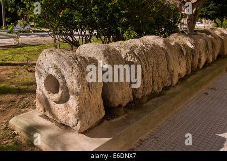 Oldest Roman aqueduct in the Plaza Asdrubal-1th century BC, Cadiz, Region of Andalusia, Spain, Europe - Stock Photo