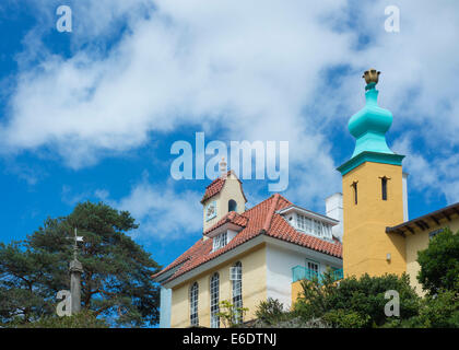 Scenic view of colorful buildings at the Portmeirion Italianate village in North Wales - Stock Photo